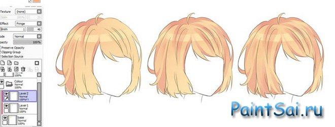 Как раскрашивать в sai волосы